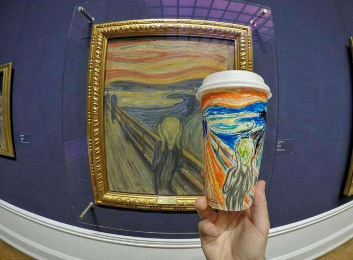 munch painting paper glasses