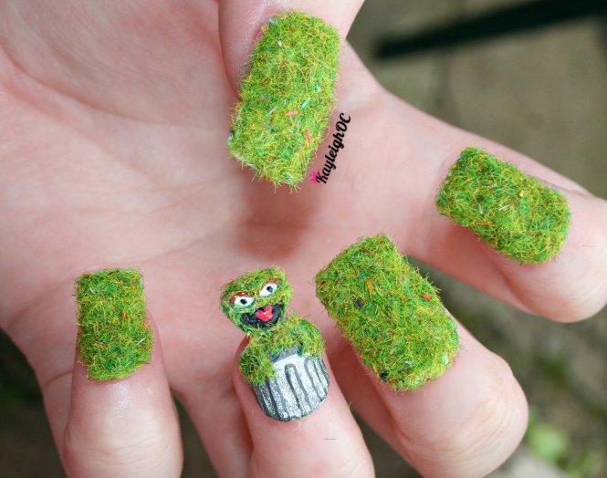 oscar the grouch 3d nail art