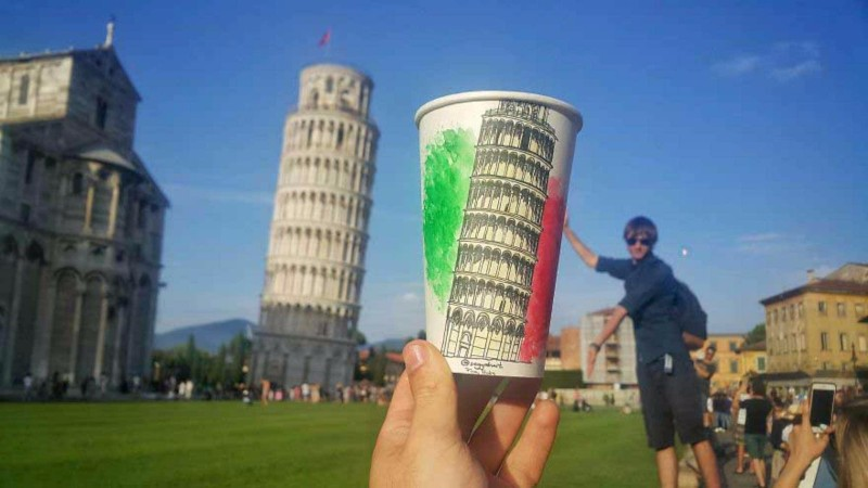 pisa tower painting paper glasses