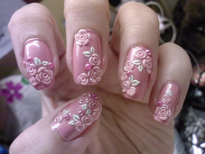 rose flower 3d nail art