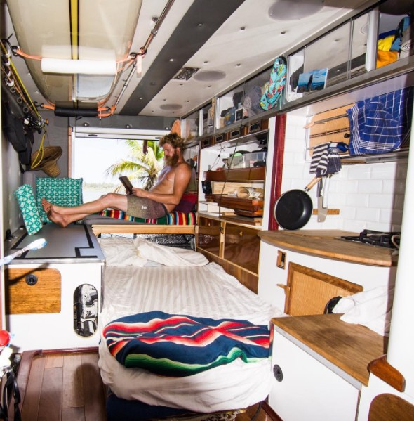inside ambulance transformed into travelling house