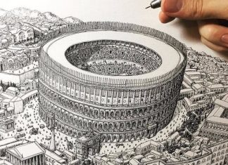 jeff murray drawings ancient rome and coliseum
