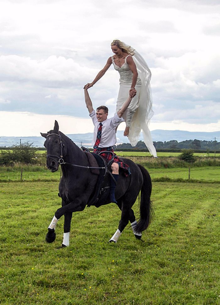joanne eccles standing horse with husband