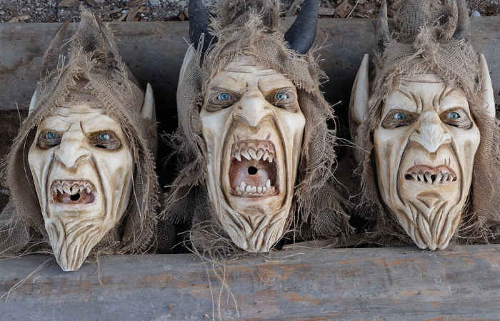 krampus demons heads
