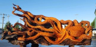 massive octopus wood sculpture