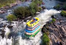 rafting with 6 rafts strapped together