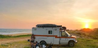 sunset ambulance transformed into travelling house