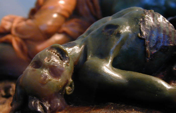 victim of plague wax sculpture